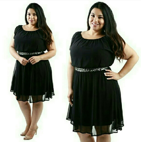 Black Chiffon Dress 1x Junior Plus Size NWT NWT